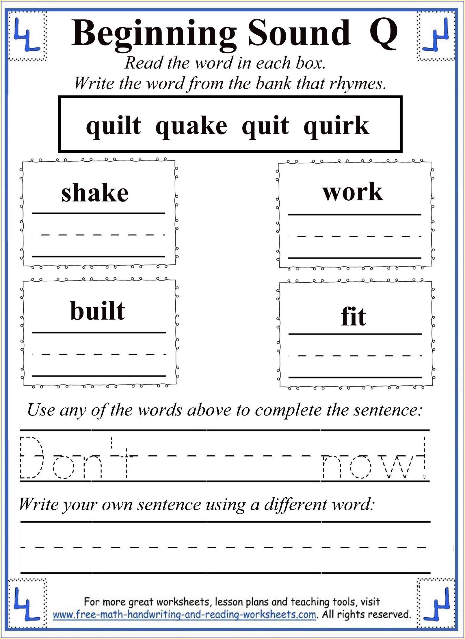 Kindergarten Worksheet Letter Q