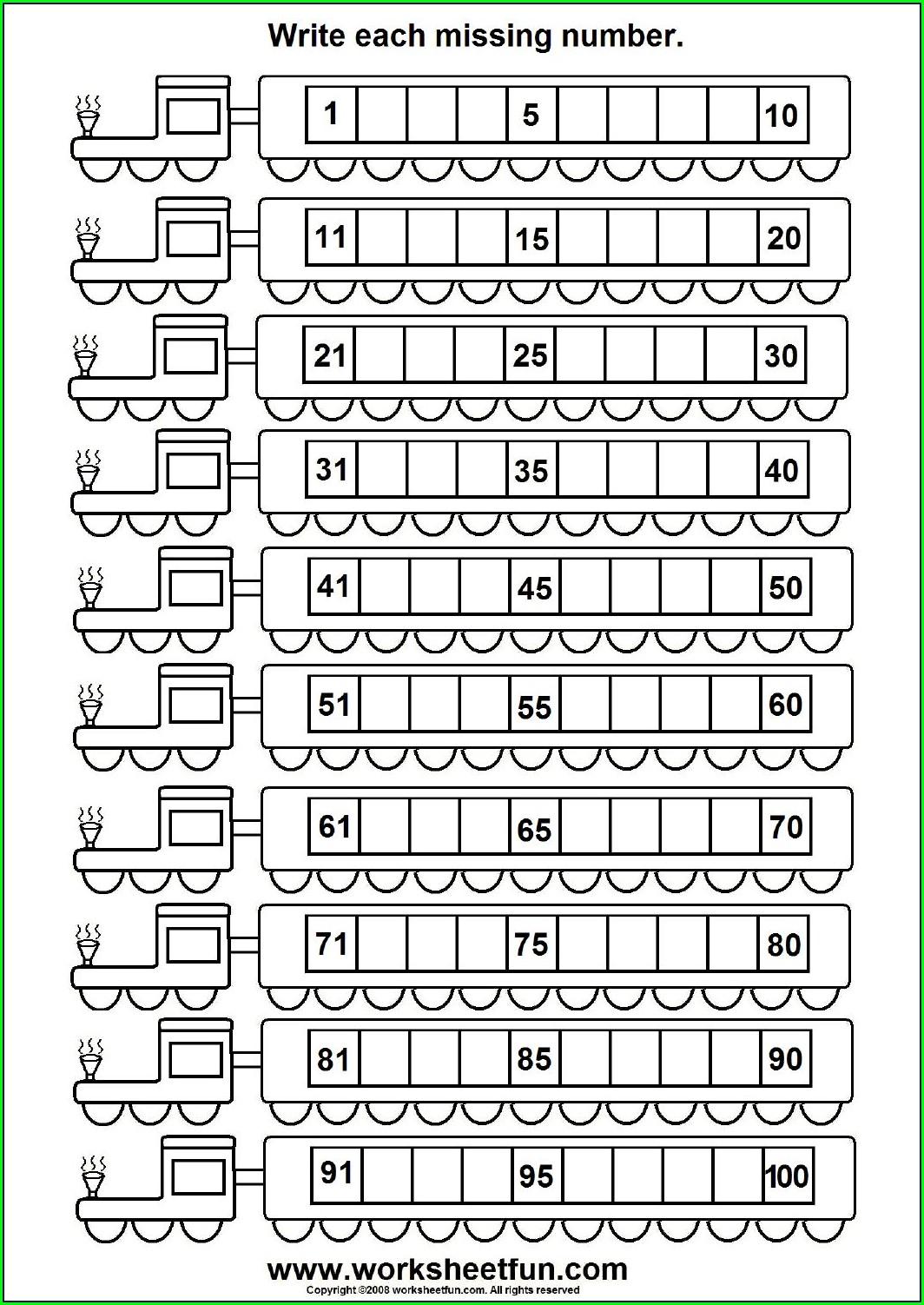 Kindergarten Worksheets Writing Numbers 1 100