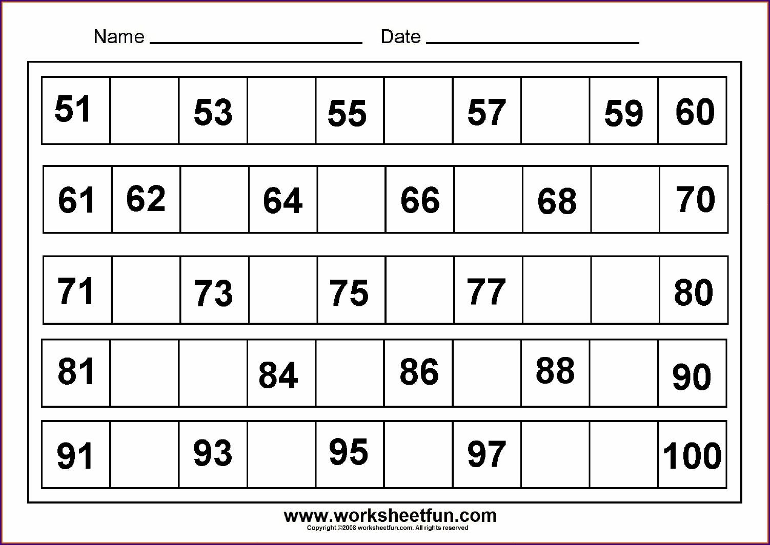 Kindergarten Writing Numbers To 100 Worksheet