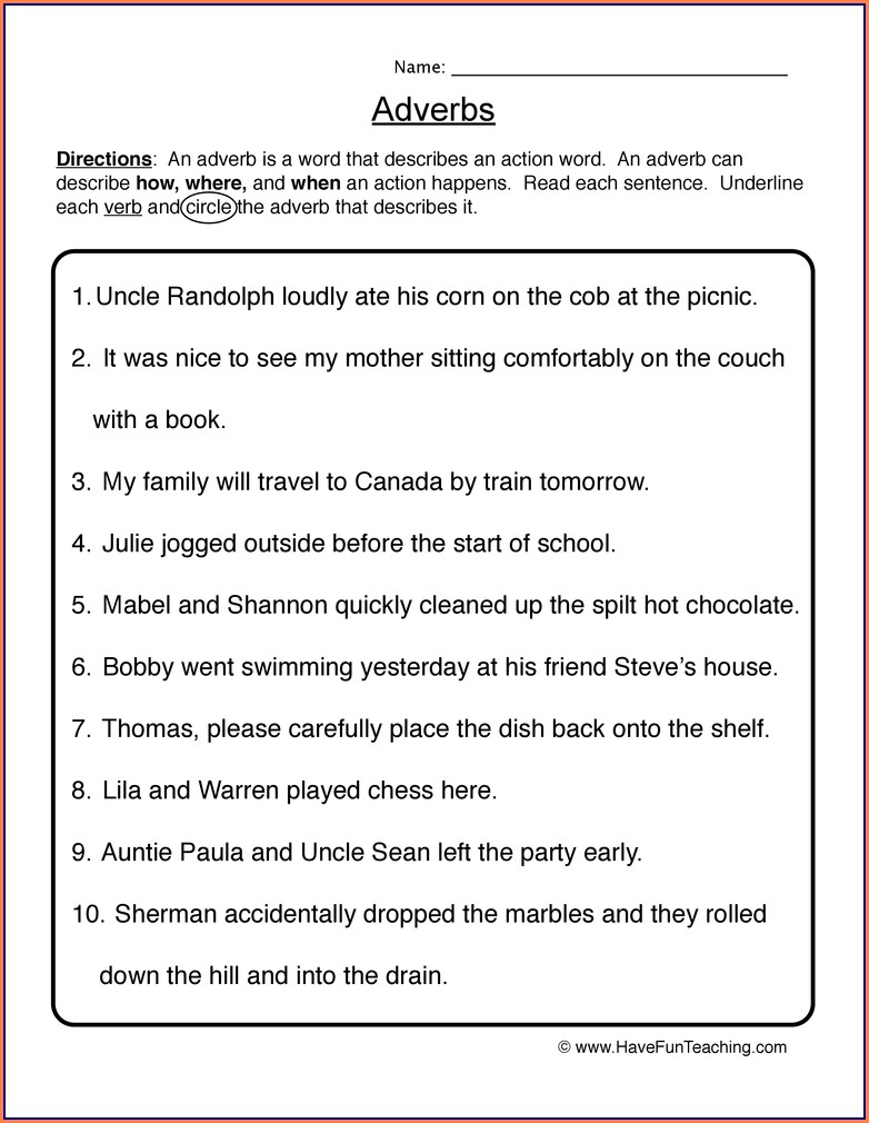 Kinds Of Adverbs Worksheets For Grade 5