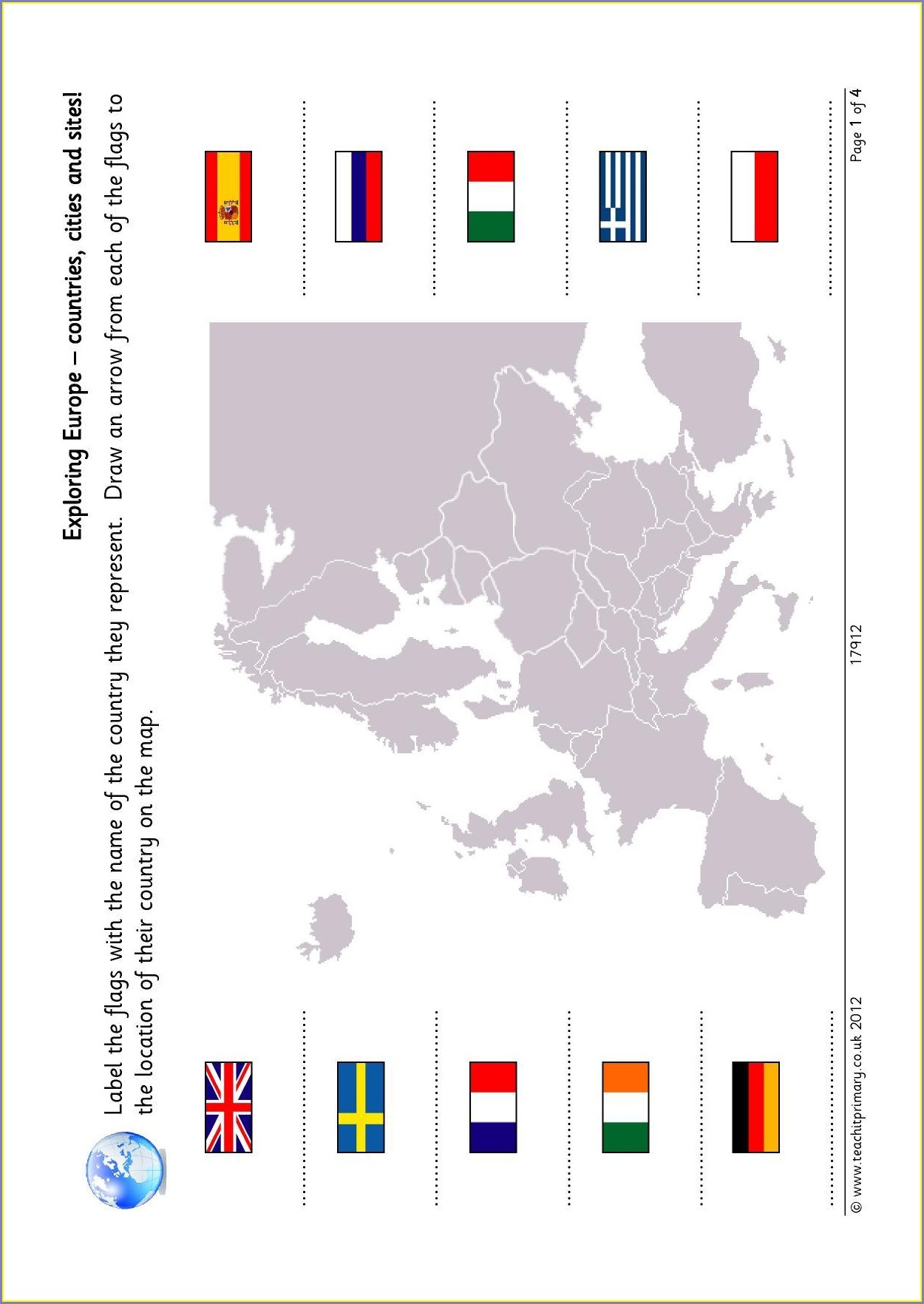 Label Map Of Europe Worksheet