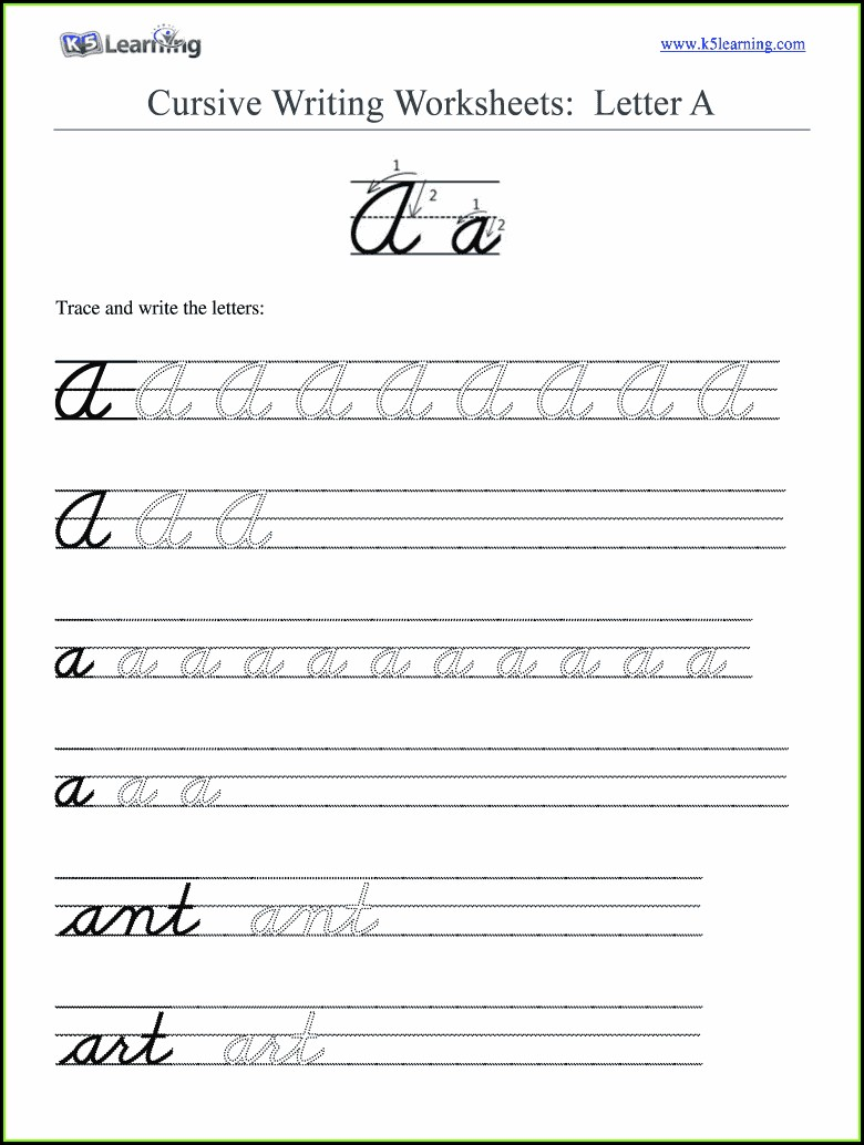Learning Cursive Writing Worksheets