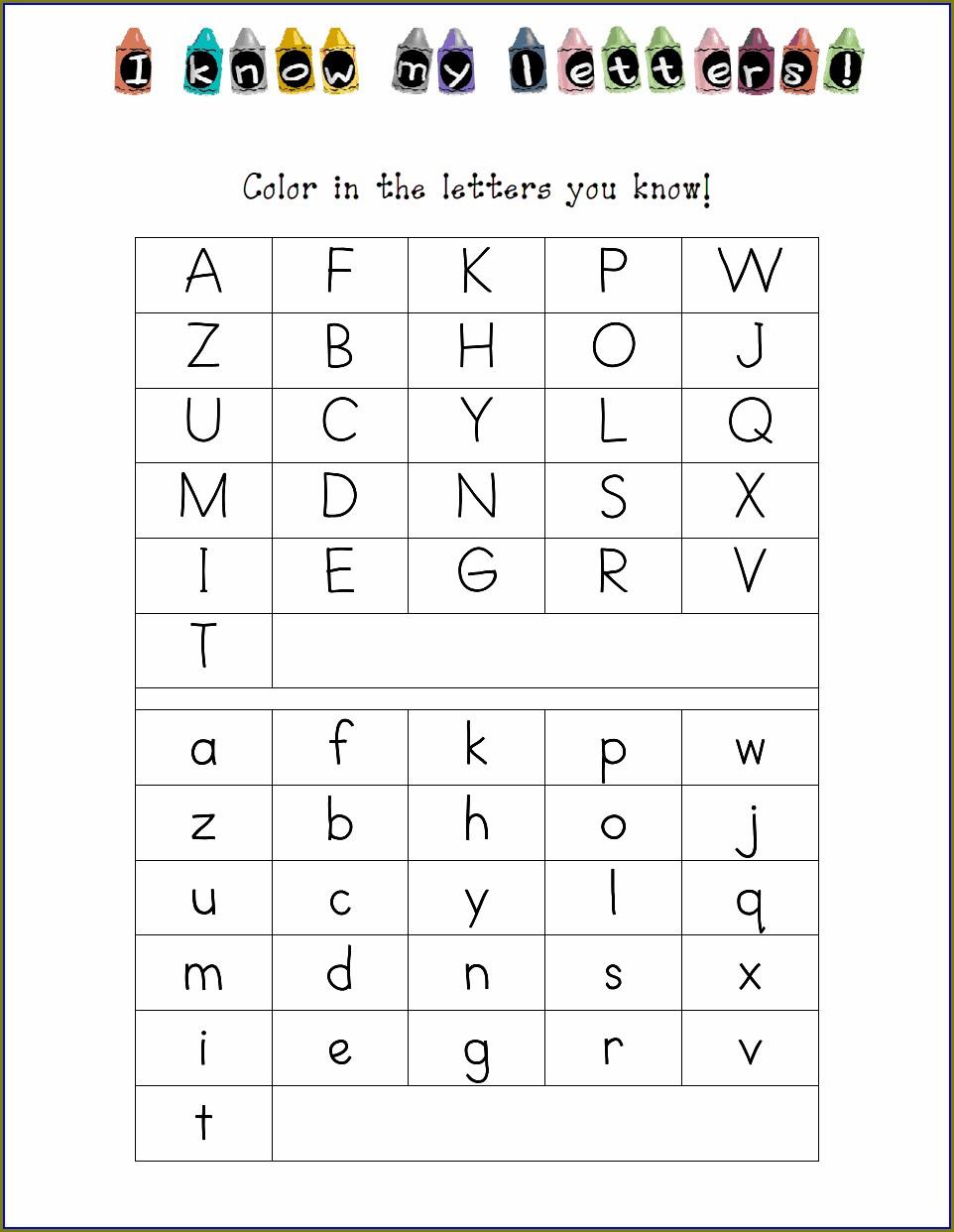 Letter Recognition Kindergarten Alphabet Worksheets Pdf