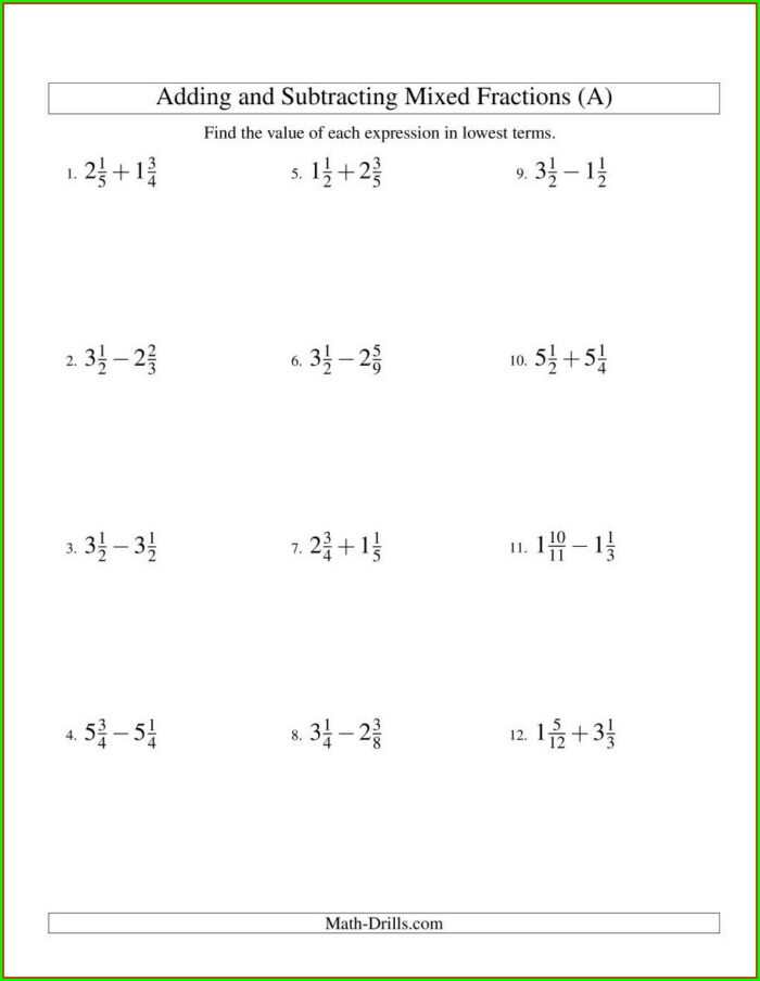 List Of Mixed Numbers Worksheet
