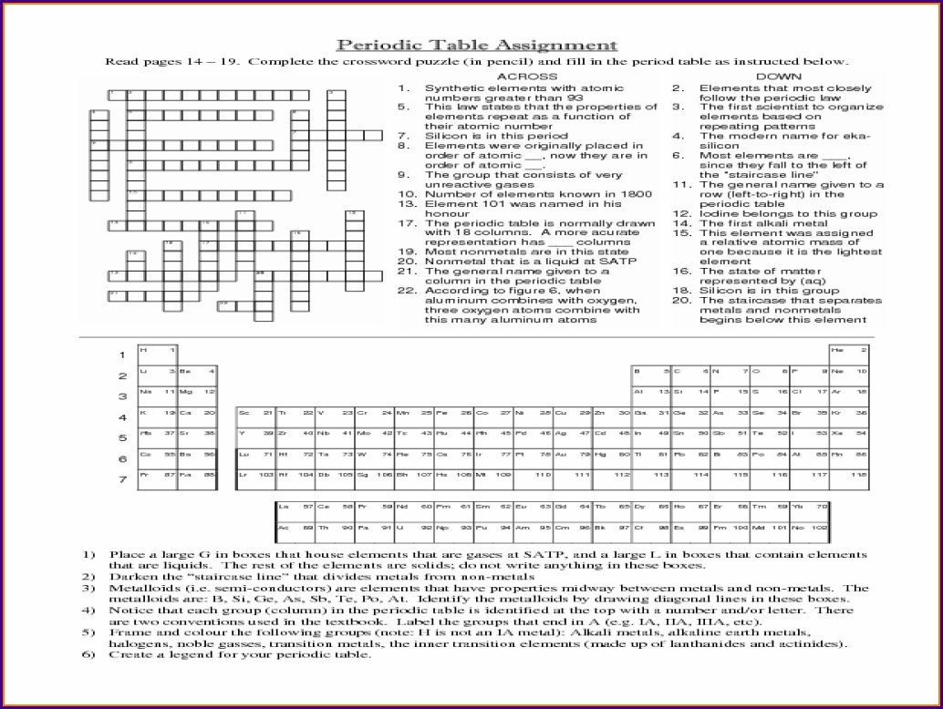 Make Your Own Periodic Table Worksheet Key