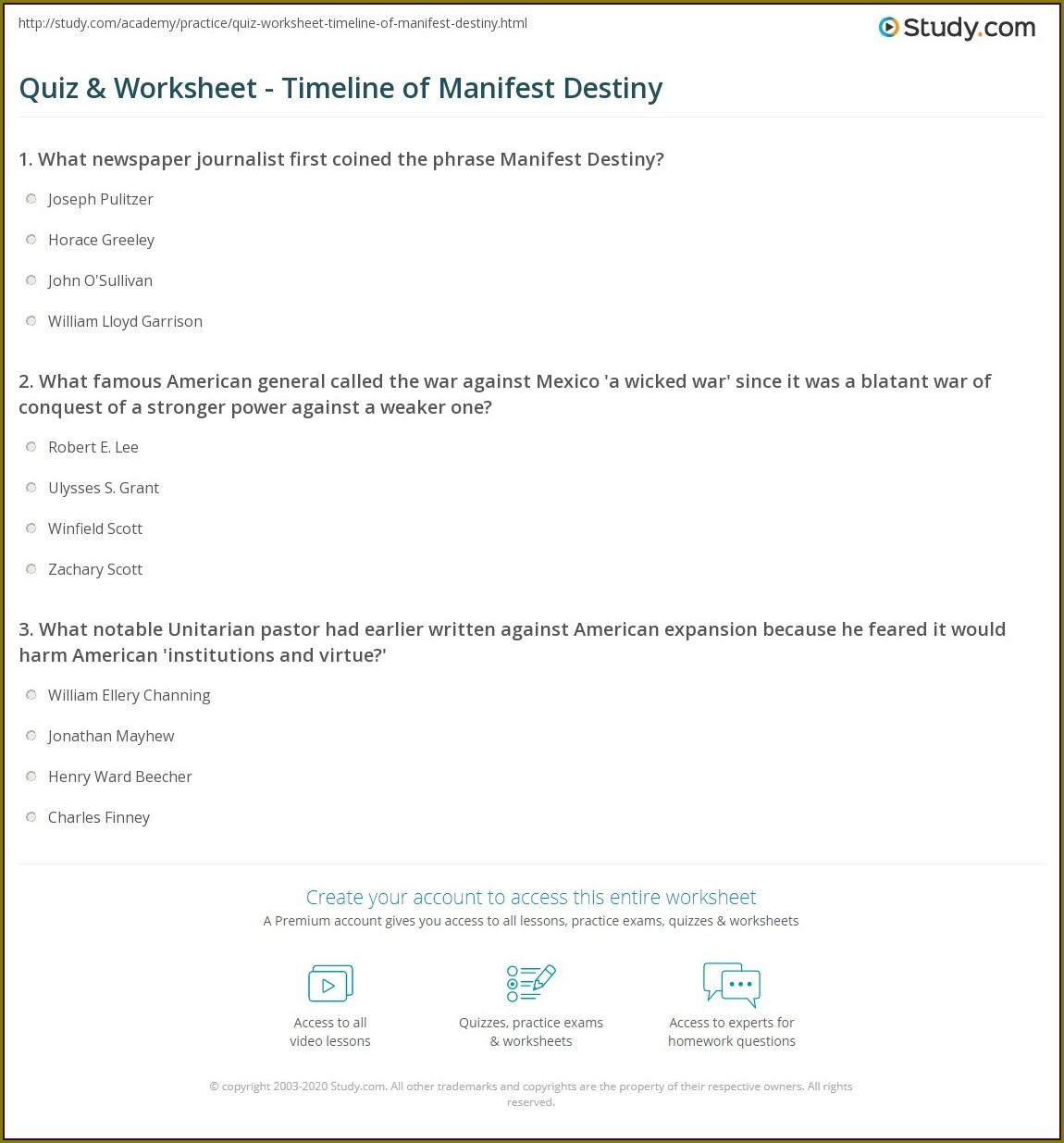 Manifest Destiny Timeline Worksheet