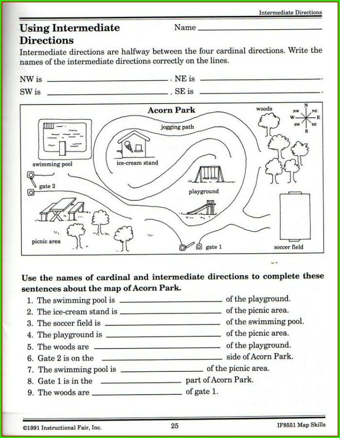 Map Directions Worksheet Ks1