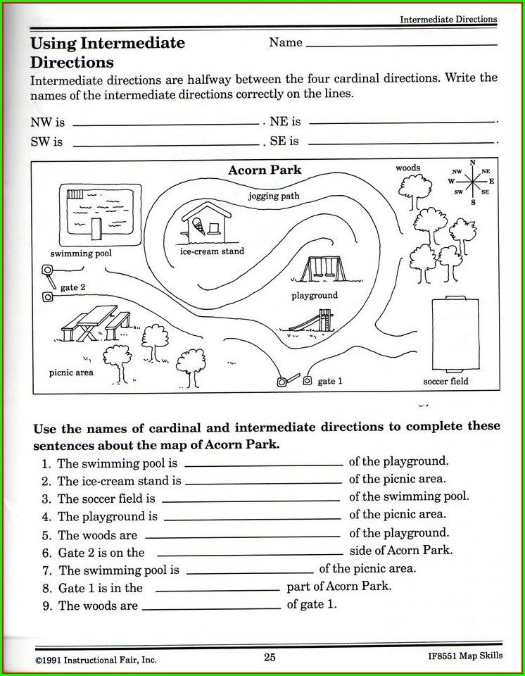 Map Directions Worksheet Ks1