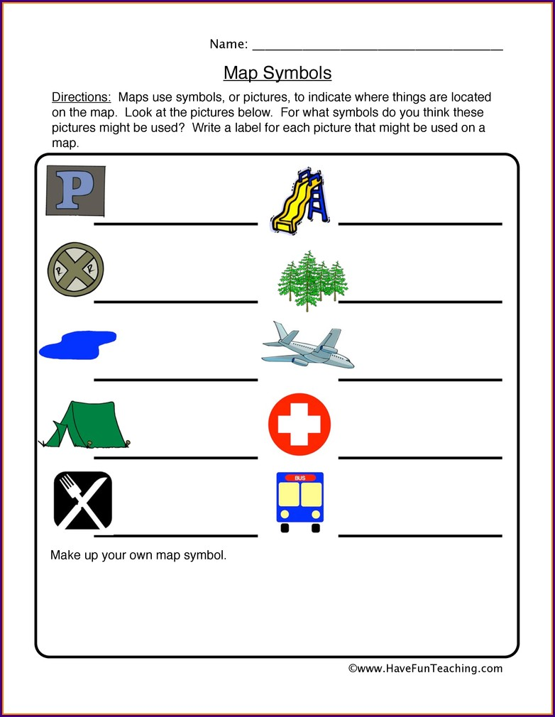 Map Legend Worksheet Second Grade
