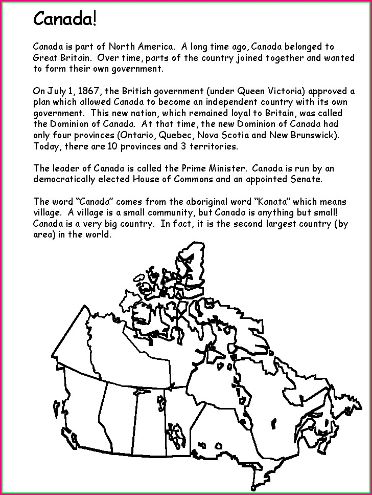 Map Of Canada Worksheet Grade 3