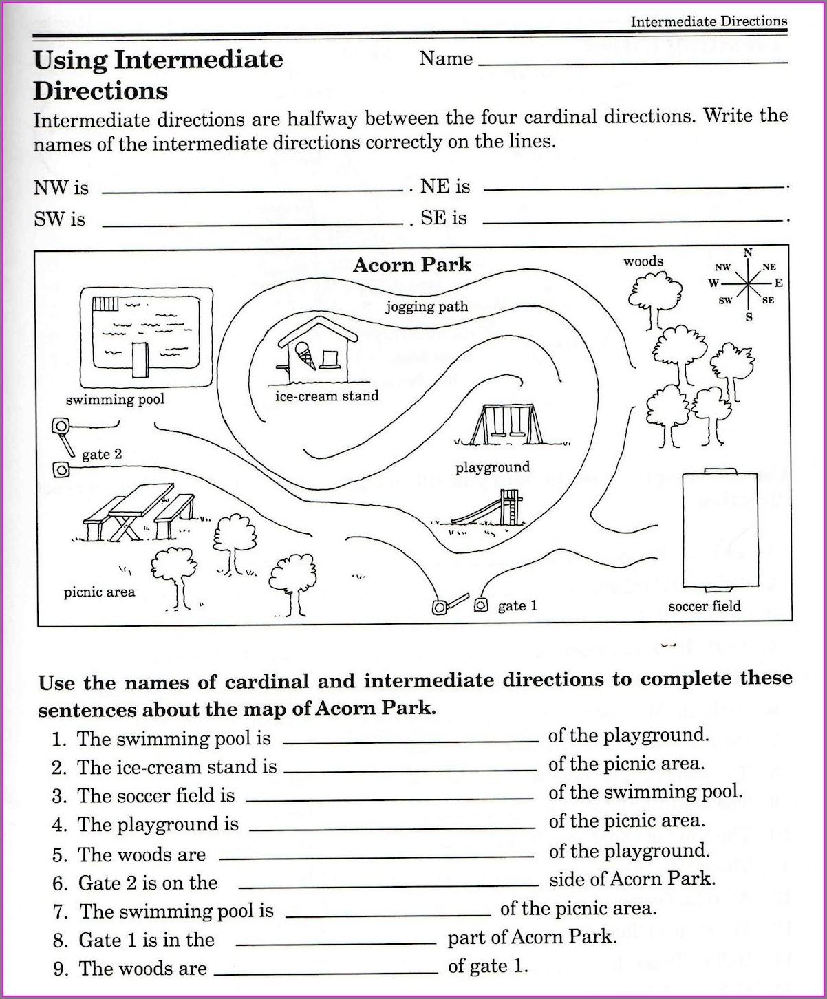 Map Worksheet For 2nd Grade
