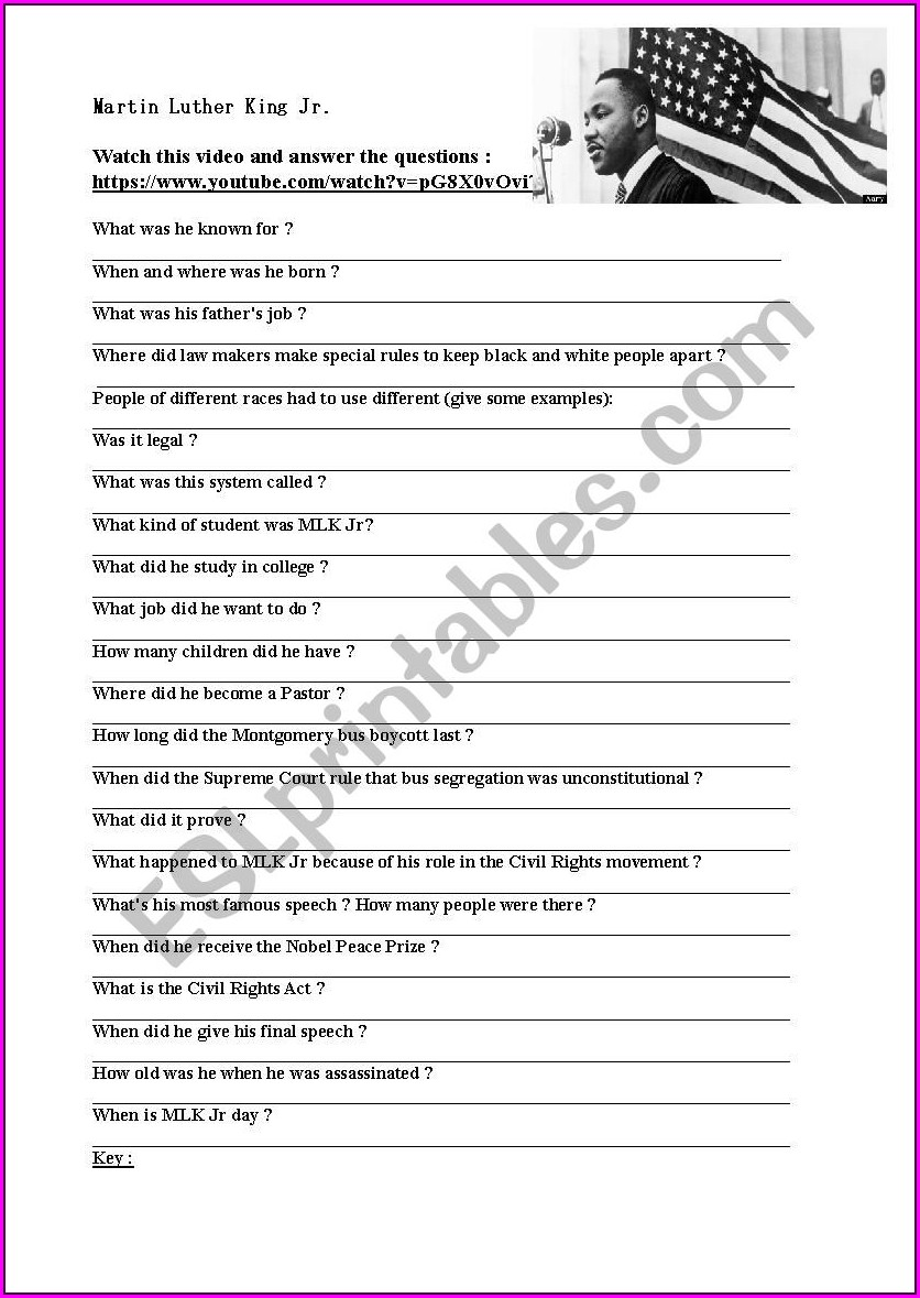 Martin Luther King Jr Assassination Worksheet