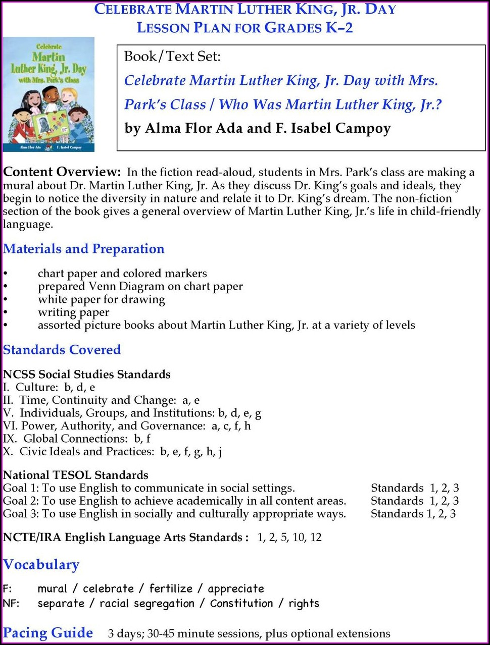 Martin Luther King Jr Lesson Objectives