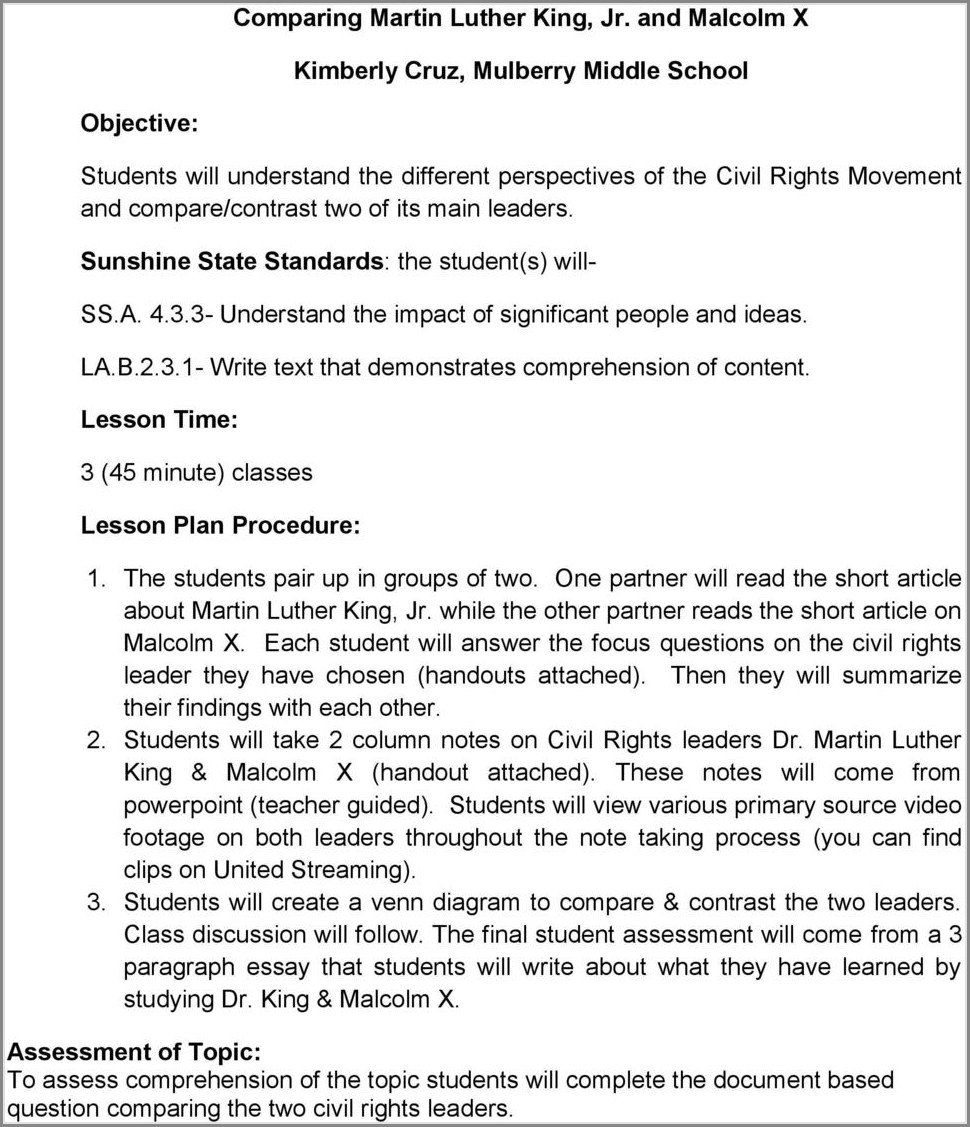Martin Luther King Jr Lesson Plans Middle School
