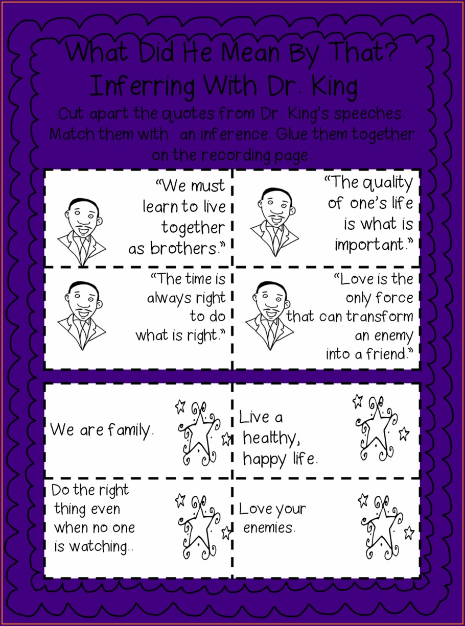 Martin Luther King Jr Printables Second Grade