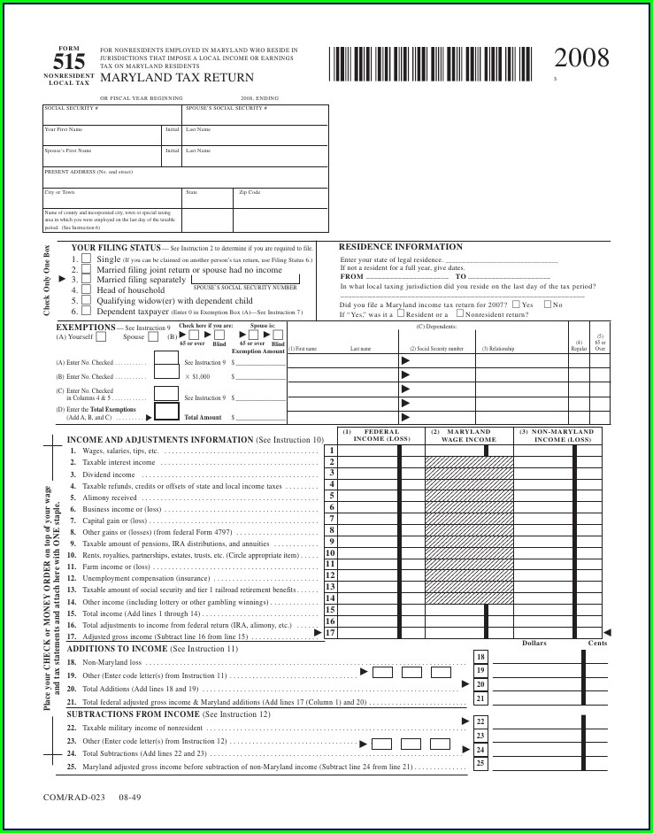 Maryland Local Earned Income Credit Worksheet