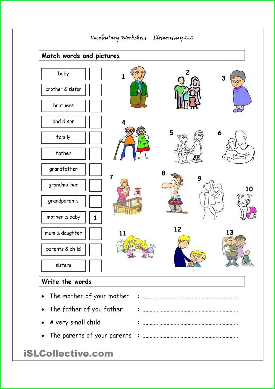 Matching Worksheet For Kindergarten English