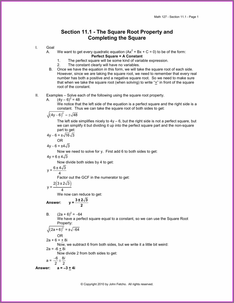 Math 127 Complex Numbers Worksheet Answers