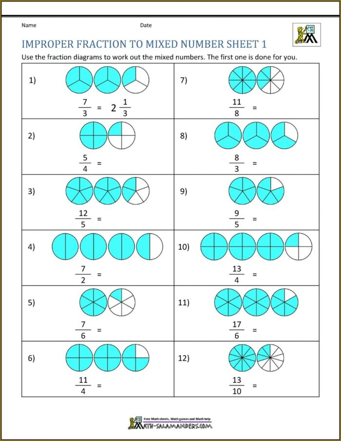 Math Exercises Mixed Numbers