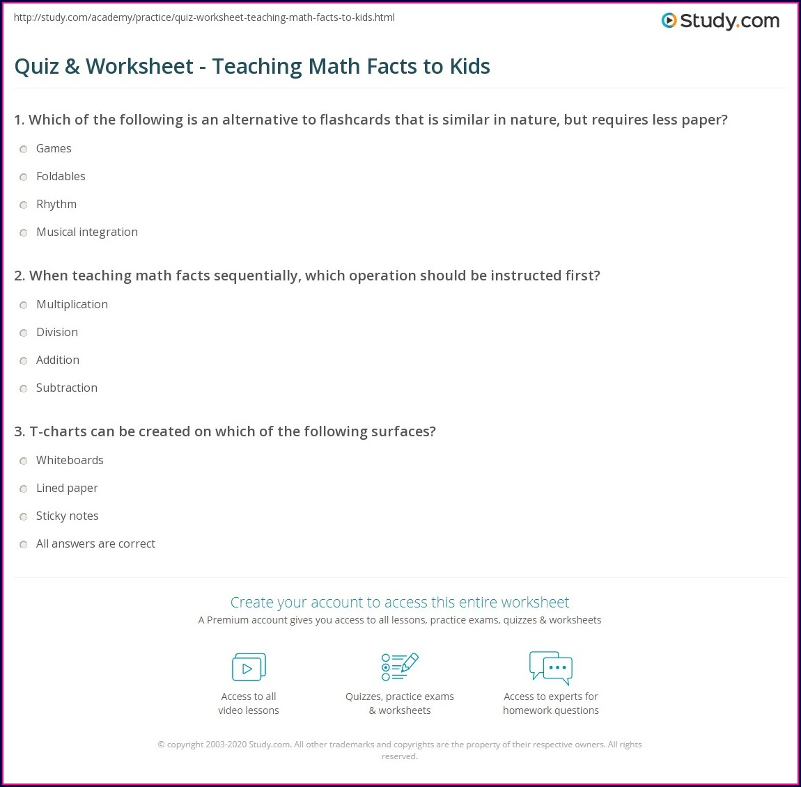 Math Facts Quiz Worksheet