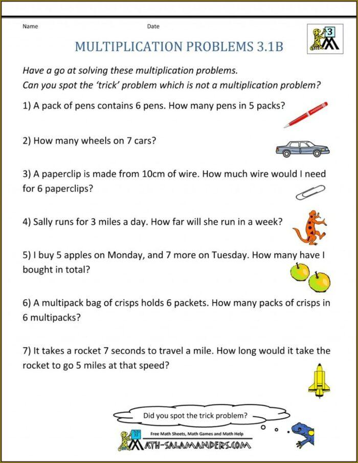 Math Problems 3rd Grade Worksheet