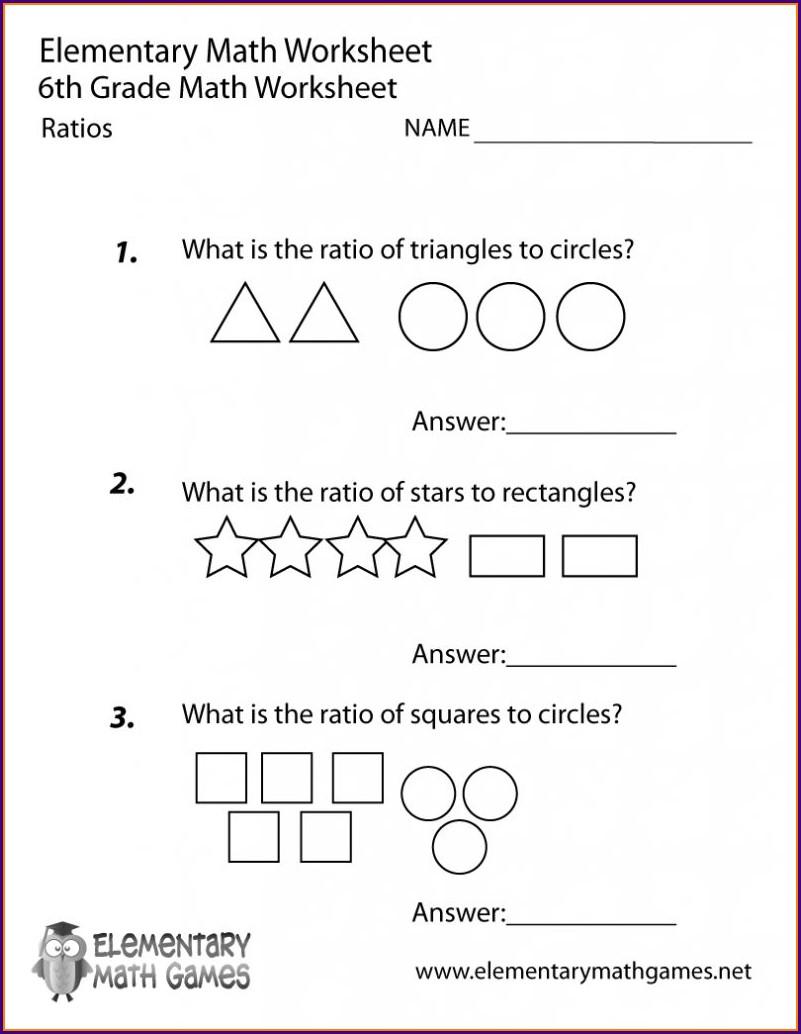 Math Problems 6th Grade Worksheet