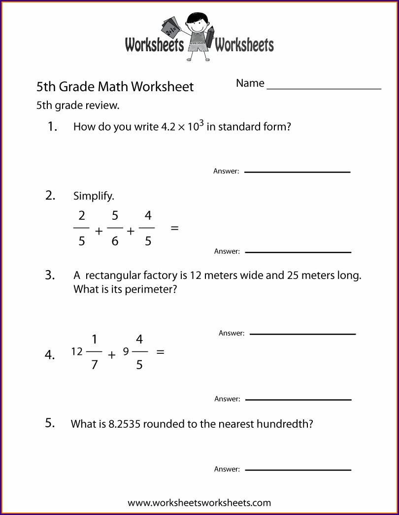 Math Review 5th Grade Worksheet