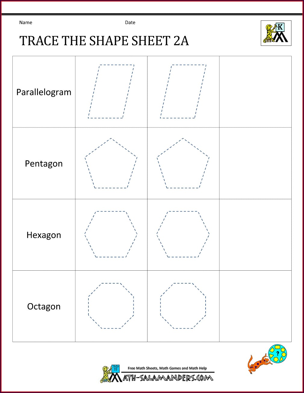 Math Shapes Worksheet For Class 1