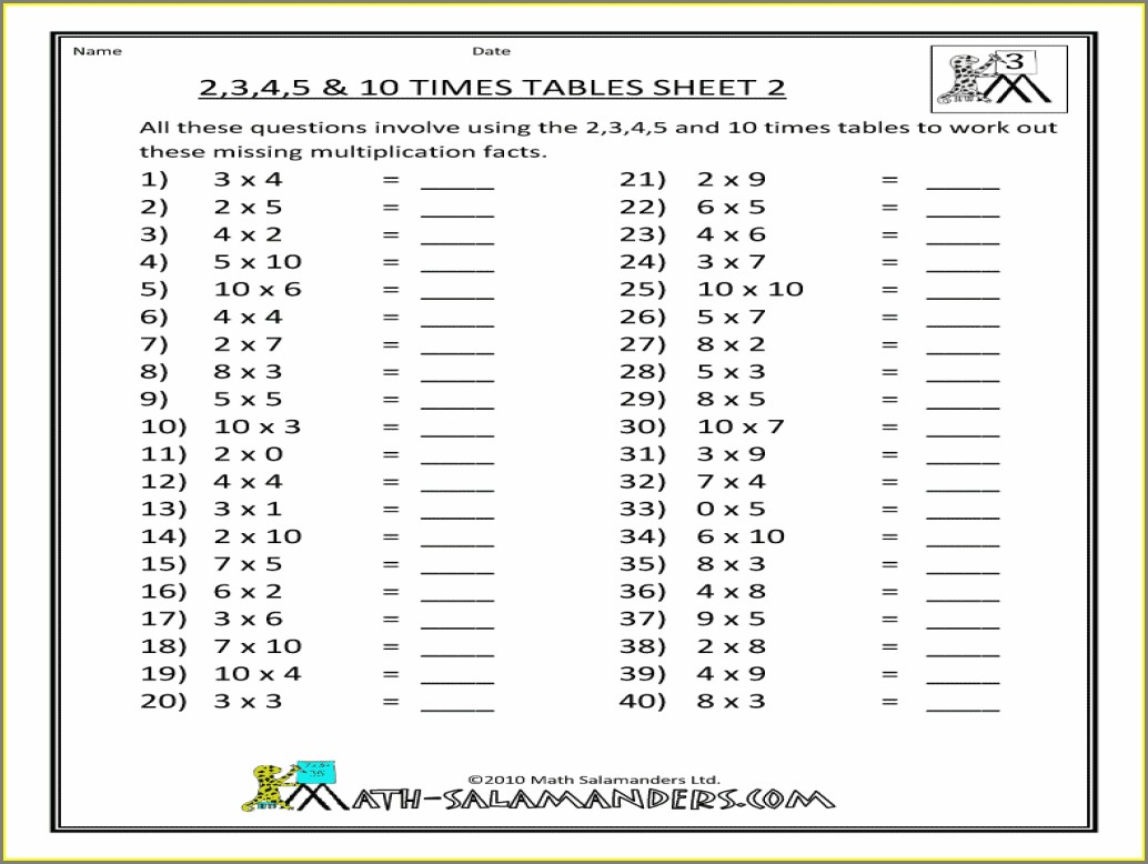 Math Times Tables Worksheets 2nd Grade