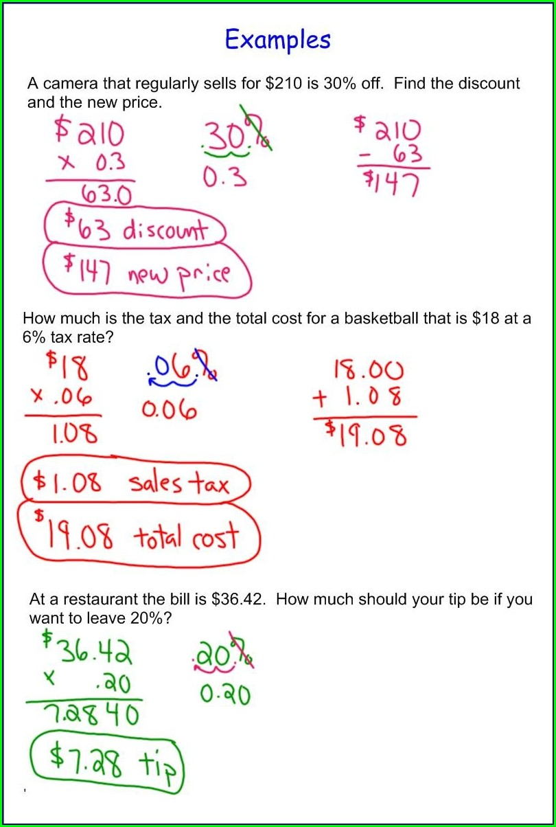 Math Tip Worksheet Answers