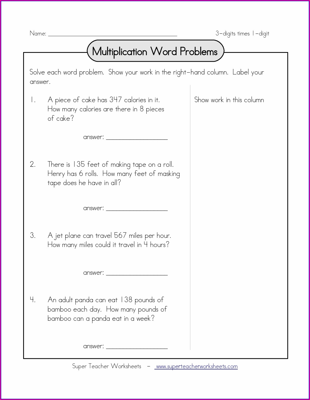 Math Word Problem Worksheet For Grade 2