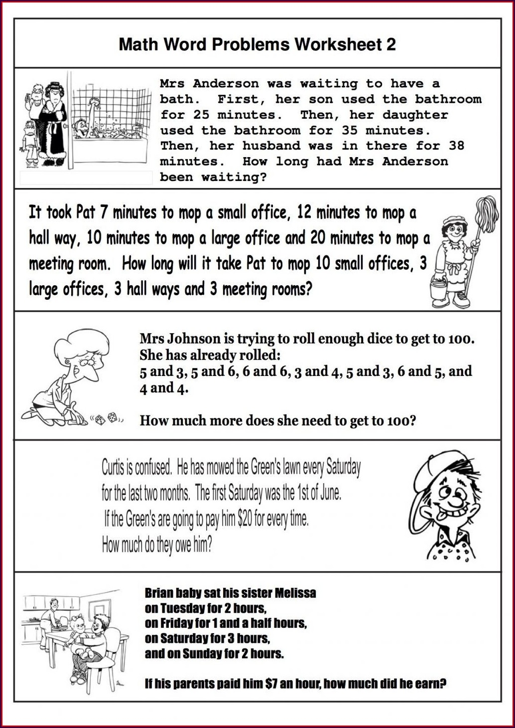 Math Word Problems Too Much Information Worksheet