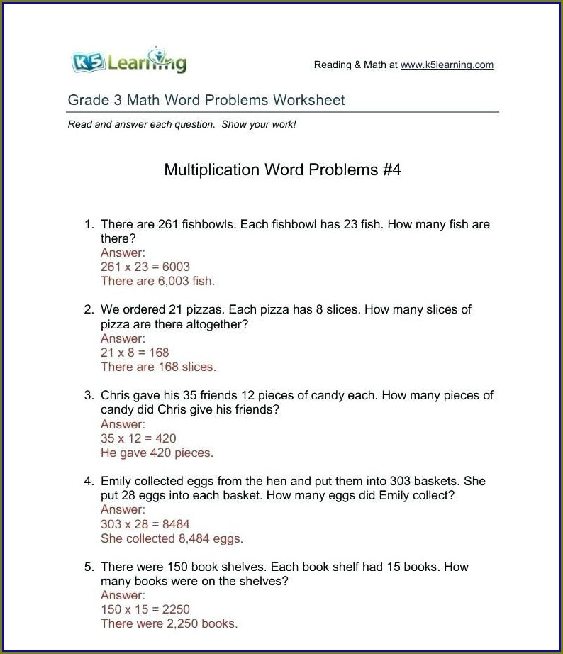 Math Word Problems Worksheets And Answers