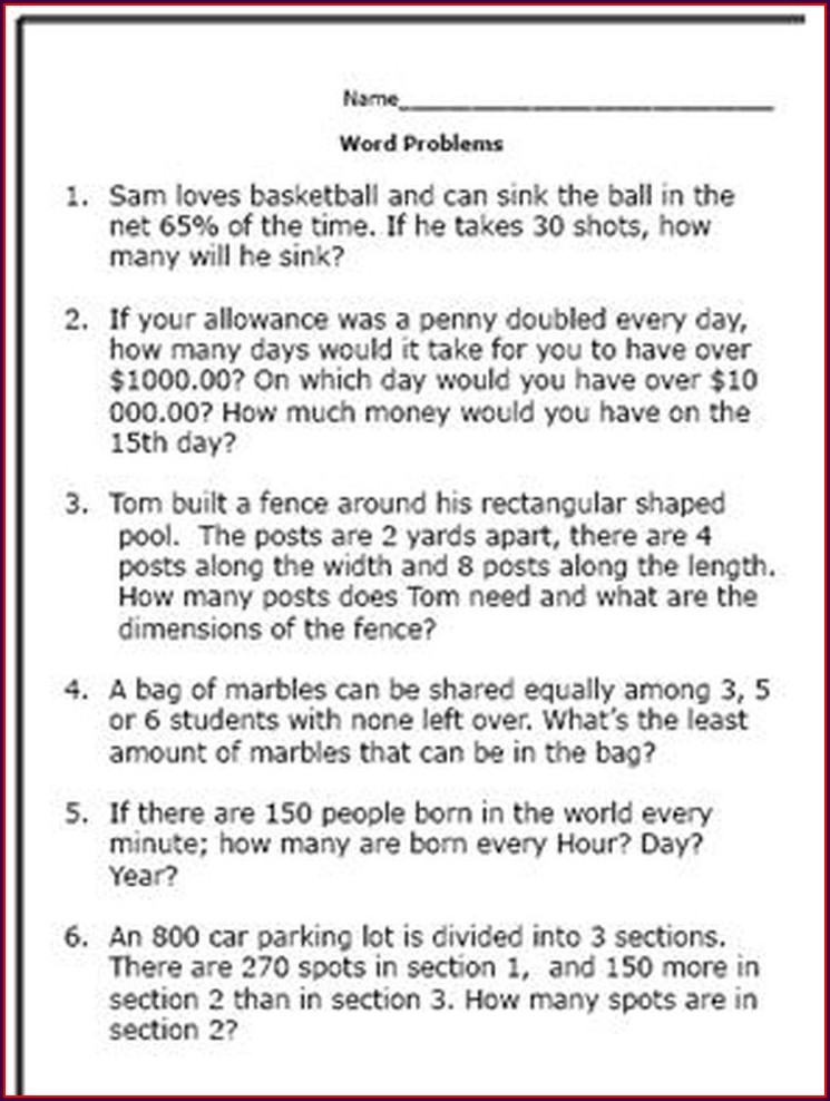 Math Word Problems Worksheets For 7th Graders