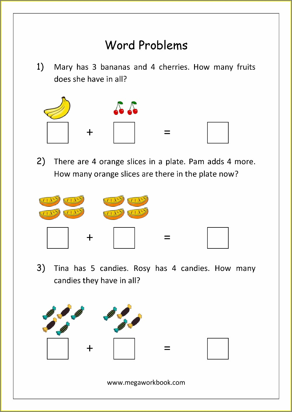 Math Word Problems Worksheets For Preschoolers