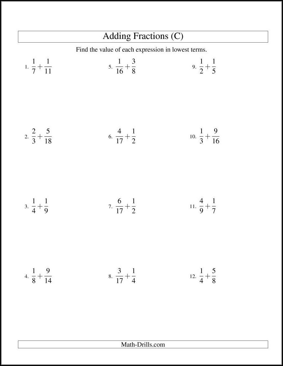 Math Worksheet Adding Fractions With Unlike Denominators