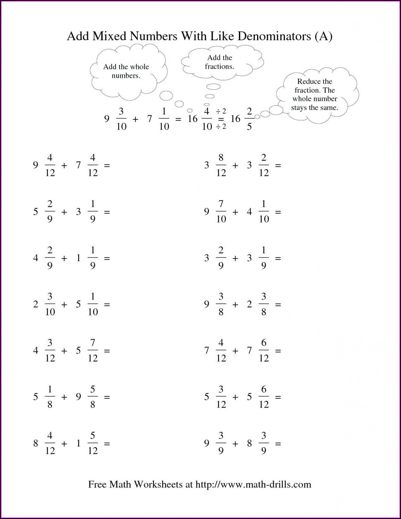 Math Worksheet Adding Fractions