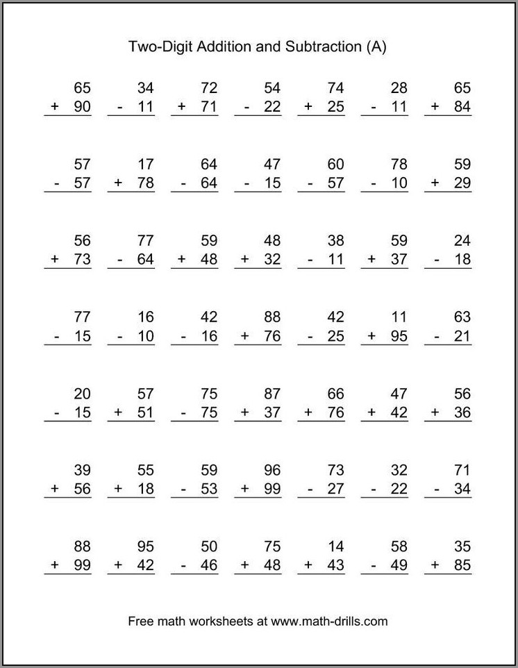 Math Worksheet Adding Two Digit Numbers