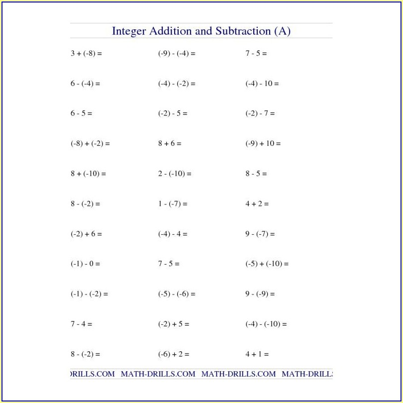 Math Worksheet Addition To 10