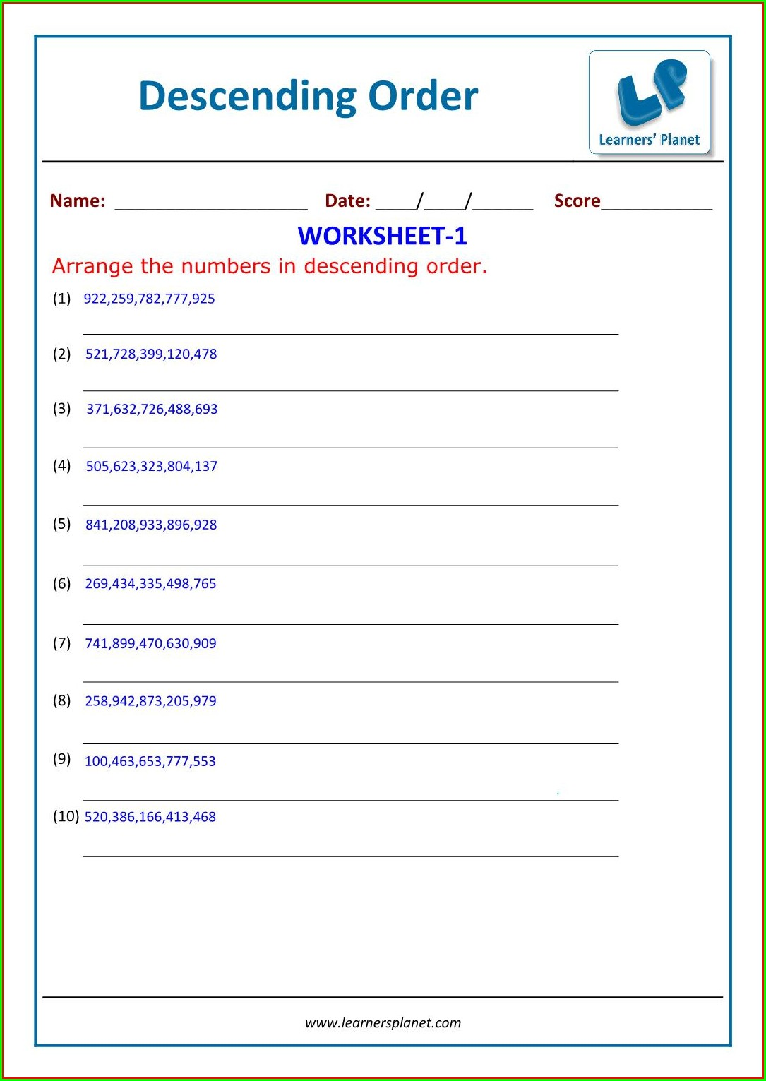 Math Worksheet Arranging Numbers