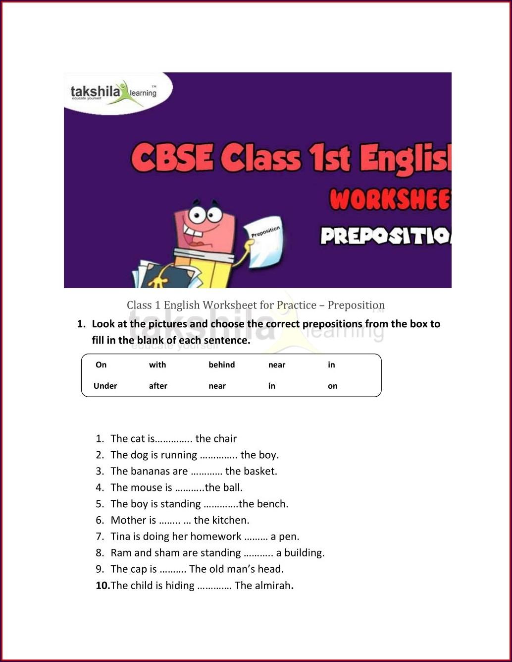 Math Worksheet For 1st Class