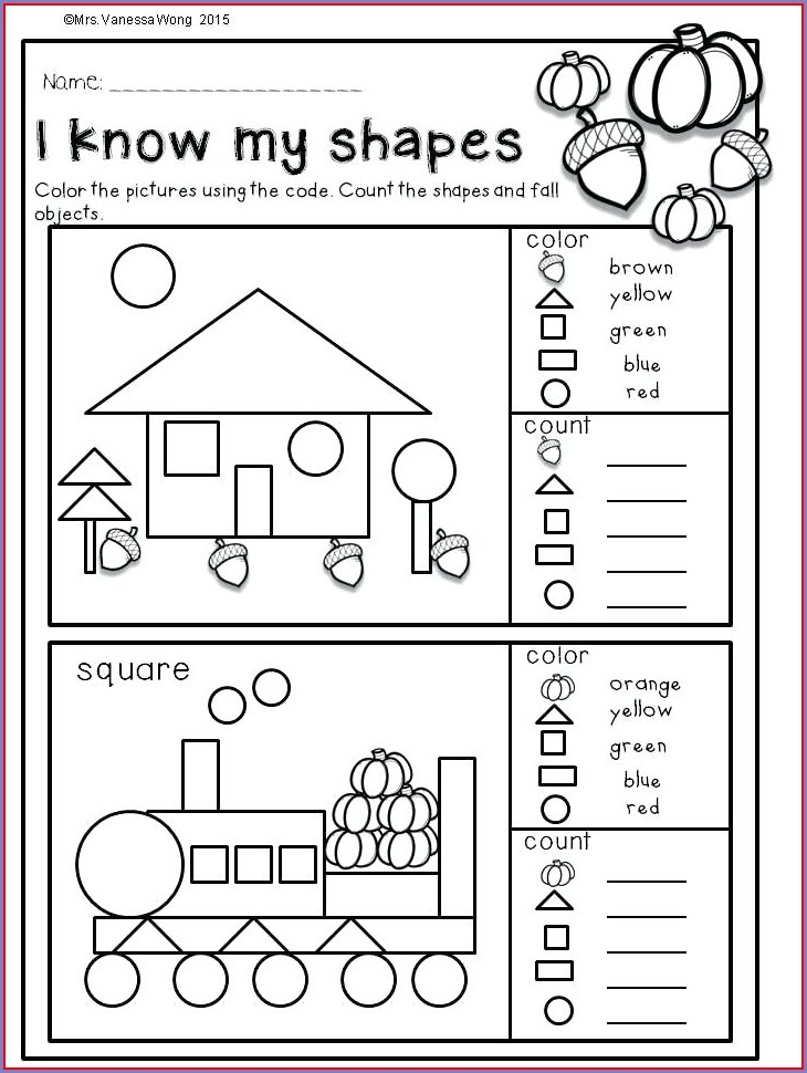 Math Worksheet For Kindergarten Shapes