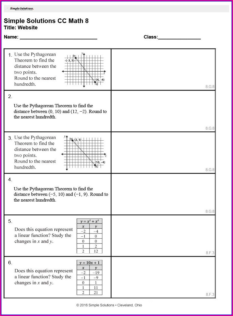 Math Worksheet Generator Grade 8
