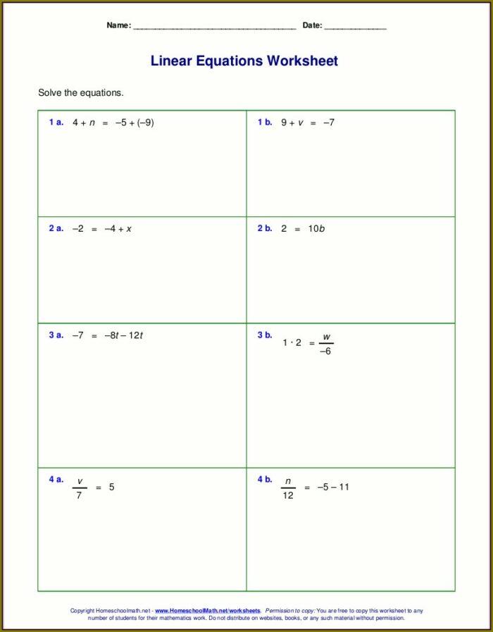 Math Worksheet Generator One Step Equations