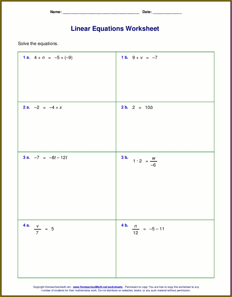 Math Worksheet Generator One Step Equations