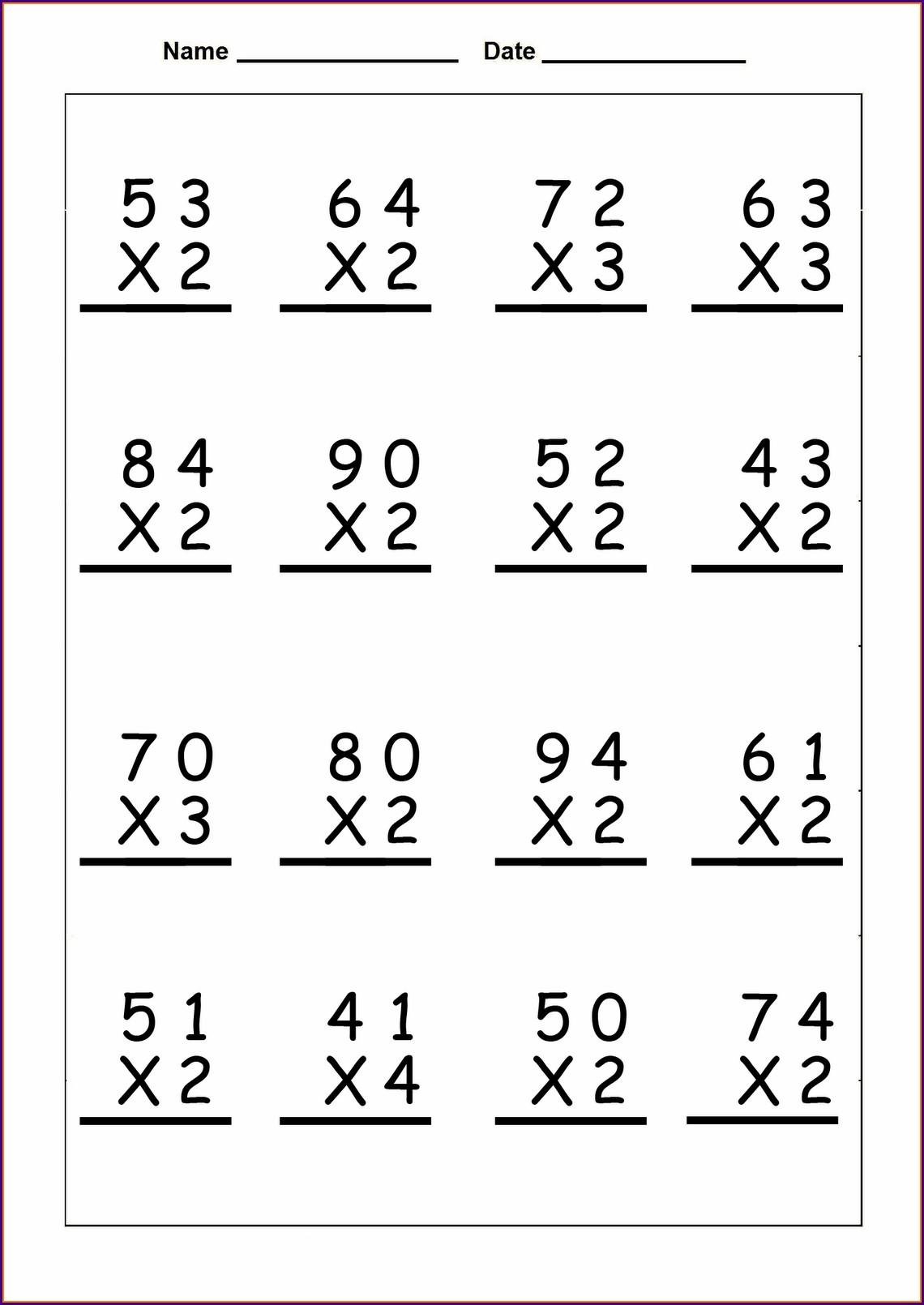 Math Worksheet Long Multiplication