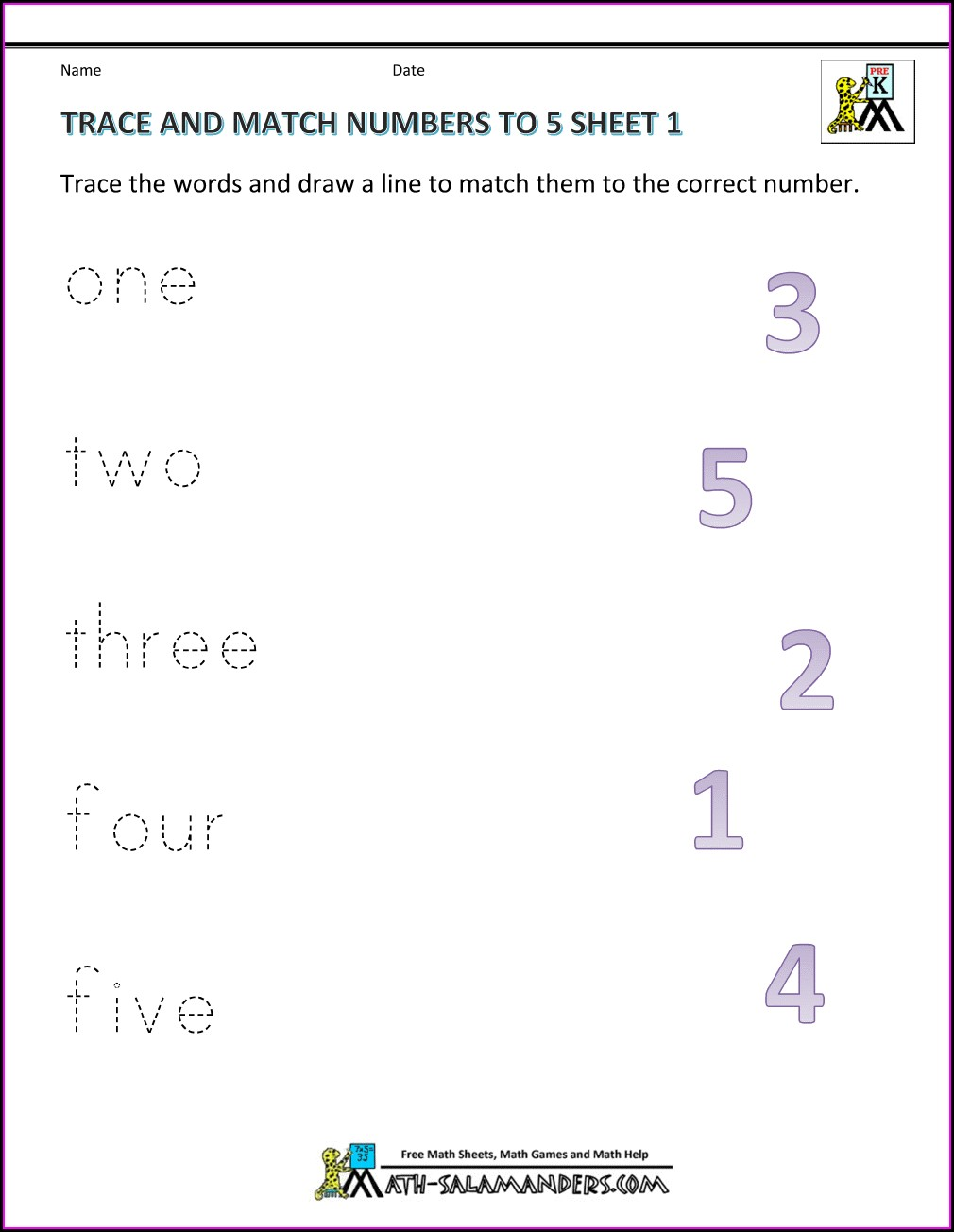 Math Worksheet Matching Numbers To Words