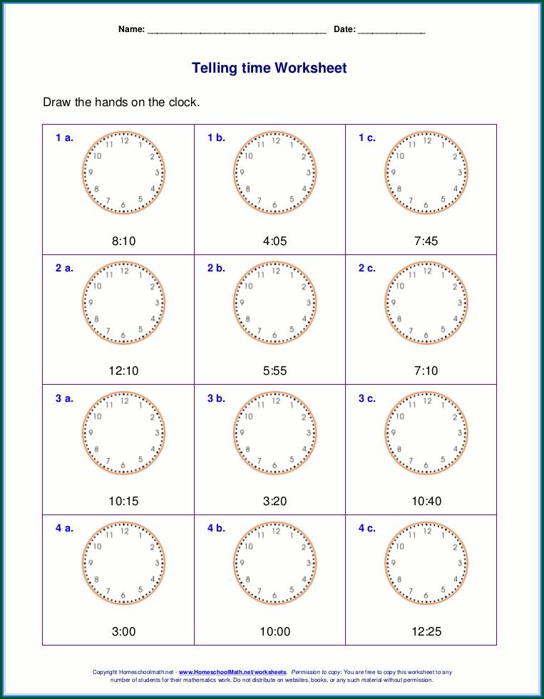 Math Worksheet On Time 2nd Grade