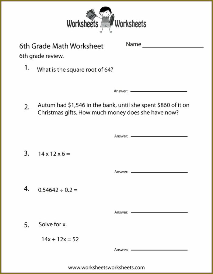 Math Worksheet Probability 6th Grade
