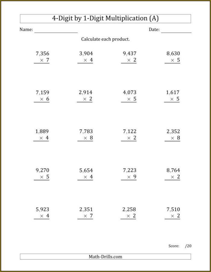 Math Worksheet Year 4